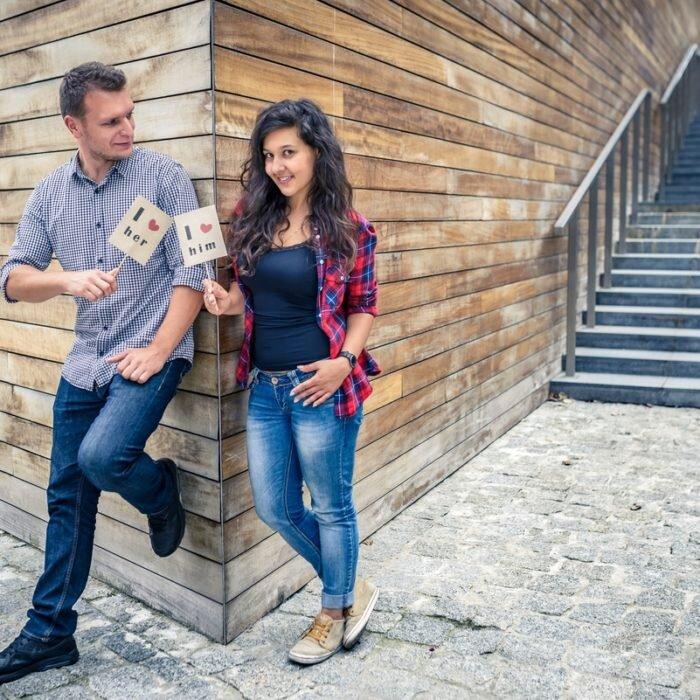 sesje narzeczeńskie, we dwoje, romantyczne, street photo, i love her him